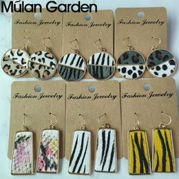 zebra pendants Australia - Leopard Zebra Genuine Hair on Leather Earrings for Women Circle Geometric Leather Pendant Dangle Earrings Fashion Jewelry Gift