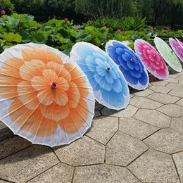 hand crafted gifts UK - 82cm Diameter Colorful Jasmine Bloom Dance Performance Flower Umbrella Chinese Cloth Hand Made Parasol Gift