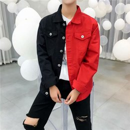Wholesale coat jackets men for sale - Group buy Ebaihui Slim Denim Jacket Men Black Red Jeans Jackets Homme Letters Embroided Streetwear Denim Coat Male Bomber Jackets Vintage Denim Jacket