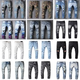 Wholesale men's white jeans resale online - Distressed France Fashion Pierre Straight Jeans Men s Biker Jeans Hole Stretch Denim Casual Jean Men Skinny Pants Elasticity Ripped Trousers
