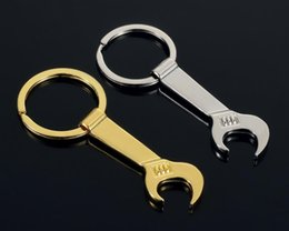wrenches tool key chains Australia - NEW 8.5*3.2cm Tool Metal Wrench Spanner Lever Bottle Opener Key Chain Keyring Gift Silver Gold 2 ColorHV2c#