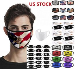 life mask UK - DHL Ship Designer Mask Anti Dust Face Mask I Can't Breath Reusable Cloth Mask Lives Black Matter Trump Cotton for Cycling Flag face shield