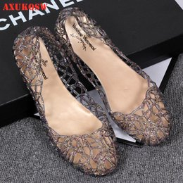 wholesale jelly shoes women UK - Women's Sandals 36-40 Fashion Lady Girl Sandals 2020 Summer Women Casual Jelly Shoes Hollow Out Mesh Flats Mother Shoes