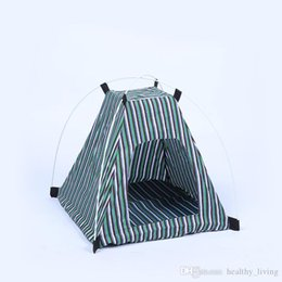 kennel cages NZ - Creative Portable Folding Striped Pet Tent Dog House Cage Dog Cat Tent Playpen Puppy Kennel Easy Operation Outdoor Supplies 2277 211