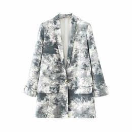 blazers suits elegant women UK - ZXQJ vintage women elegant tie dye long blazers 2020 fashion ladies stylish notched collar suit jacket female chic blazers girls