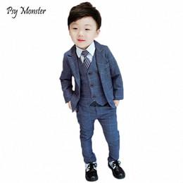 Wholesale Brand Children Flower Boys Suits Kids Blazer Formal Dress Suit For Weddings Birthday Clothes Set Jackets Vest Pants 3pcs F125 Df3i#