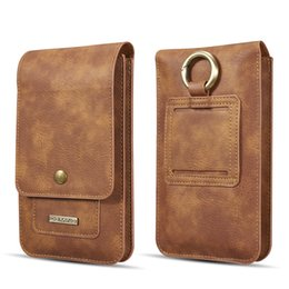 leather belt holster case NZ - Universal 6.5-inch double-layer cowhide mobile phone holster belt bag leather flip bag