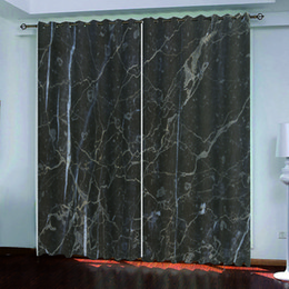 Wholesale customize ink resale online - Modern Customized D Curtain Blackout Curtain Bedroom Decoration Modern ink and dark gray marble Curtains For living room