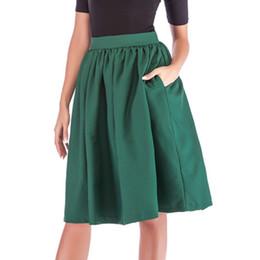US STOCK  Vintage Women Elastic High Waist Plain Skater Flared Pleated Skirt 123