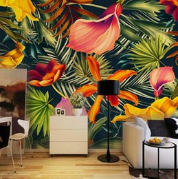 large flower backdrop UK - Custom Wall Mural Tropical Rainforest Plant Flowers Banana Leaves Backdrop Painted Living Room Bedroom Large Mural Wall Paper
