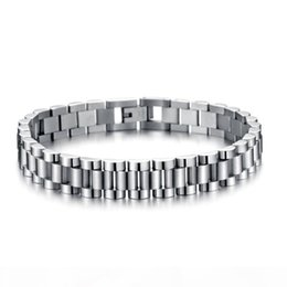 cool silver watches NZ - P Whosales -Mens Cool 10mm 21cm Silver 316l Stainless Steel Watch Band Bracelets Length Adjustable Mens Bangle Jewelry Gifts