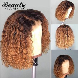 blonde ombre human hair wigs NZ - Long Ombre Curly Lace Front Human Hair Wigs For Women 1B 27 Honey Blonde Brazilian Remy Short Bob Lace Front Wig Pre Pluck
