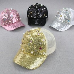 baseball bling hat wholesale Canada - Fashion Summer Bling Bling Mesh Hat Child Baseball Cap Snapback Hat For Boy Girls Snapback Caps Hip Hop Sun Cap xAxO#
