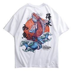 Mens Retro caráter chinês Hip Hop T-shirt Summer Fashion Harajuku Koi Imprimir Cotton Streetwear Masculino Tops Tees