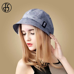 visors for beach Canada - FS Fashion Cotton Sun Hat For Women Summer Outdoor Foldable Beach Hats Blue Pink Dark Gray Wide Brim Casual Visor Caps Femme CX200715