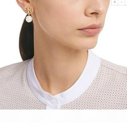 galaxy stud UK - A The New Listing Top Brass Material Pearl Beads 1 .3cm Stud Earring 18k Gold Plated Women Indian Jewelry White Grey Color Galaxy Earri