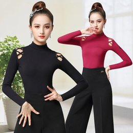 latin ballroom costumes for women NZ - New sexy Ballroom Latin dance top long sleeves Salsa Rumba Chacha Performance Practice Costume for women
