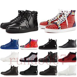 navy closed toe heels UK - top quality 2019 red bottom gz shoes 19ss spike sock donna spikes bottoms sneakers men chaussures heels mens women low high boots designer