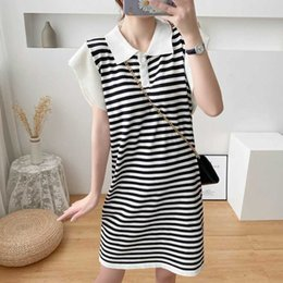 maternity cotton nursing Australia - 2020 Summer Women Lactation Dress Turn-Down Collar Petal Collar Preppy Style Stripe Maternity Nursing Dress Cotton Breastfeeding