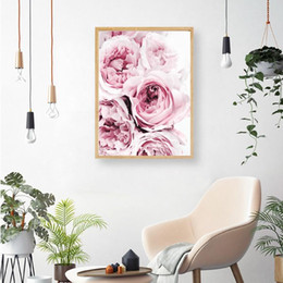 modern decorative frames Canada - Bedroom Wall Decor Pink and Grey Floral Flower Canvas Painting Wall Art Canvas Posters Nordic Prints Decorative Picture Modern