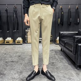 style dress trousers UK - Khaki Black Men's Suit Pants 2020 British Style Classic Business Dress Pants Streetwear Casual Wedding Trousers Costume Homme LZ2a#