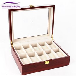 watch boxes wood Canada - Wooden 10-position bright paint Storage Display red wood grain painted watch storage box watch display box