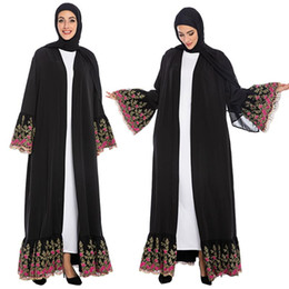 Wholesale abaya long dress resale online - Women Kimono Muslim Embroidery Long Sleeve Abaya Open Cardigan Dubai Kaftan Robe Elegant Flare Sleeve Black Party Cocktail Dress