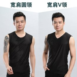 2020 new ice silk vest men's tide thin section mesh breathable quick-drying sports wide waistcoat outer wear men's sleeveless t-shirt summer