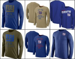 Wholesale giant t shirts online – design New York Giants Men Round Neck Shirt Salute to Service Sideline Legend Performance Long Sleeve T Shirt Olive