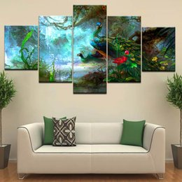 peacock canvas prints Canada - Modern Printing Type Poster Canvas 5 Panel Animal Peacock Painting HD Wall Art Pictures Modular Artwork Vintage Home Decor
