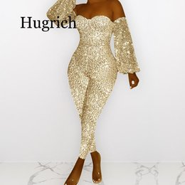 plunge jumpsuit NZ - Women Sequin Off Shoulder Plunging V-neck Lantern Long Sleeve Bodycon Jumpsuit Sexy Club Night Party Retro Romper Playsuit