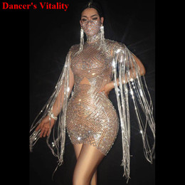 Wholesale sexy super women costume for sale – halloween Super Sparkly Rhinestone Dress Stretch Sexy Gold Glisten Crystals Costume Evening Tassel Celebrate Dress Wear Luxurious Outfit