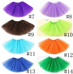ingrosso costumi per i più piccoli-Girls Tutu Gonne strati Tulle Toddler Gonne Star Glitter Ballet Fancy Pettiskirt Sequin Stage Stage Dancewear Costume Mini Abiti EWD715