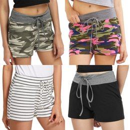 Wholesale side stripe shorts for sale – dress Sexy Women High Waist Elastic Waist Drawstring Sides Buttons Split Contrast Knitted Ribbon Wide Stripe Casual Summer Shorts