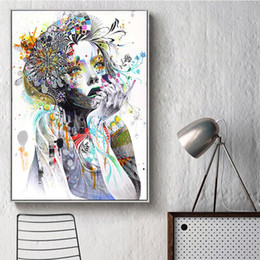 Discount colourful art paintings Colourful Beauty Flower Modern Watercolor Girl Canvas Painting Wall Art Pictures Painting for Living Room Home Decor (No
