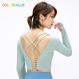 shirts sexy backs NZ - Colorvalue Back Cross Straps Yoga Fitness Shirts Women Padded Anti-sweat Gym Workout Long Sleeved Crop Tops with Thumb Holes T200713