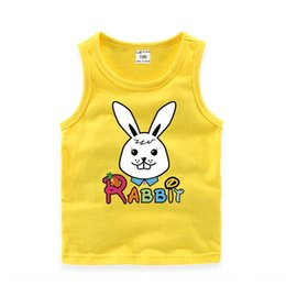 loose sports vest NZ - Male and female children loose cotton cartoon round neck vest sleeveless sports vest base shirt