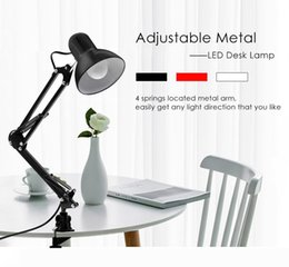 flexible arm clamp UK - Flexible Table LED Lamp Swing Arm Mount Clamp Lamp Adustable lamp for Home Office Studio Desk Light wholesales with free shipping