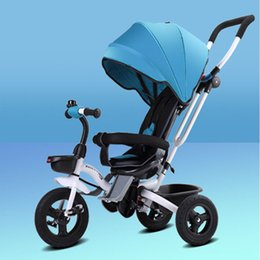 Children's Tricycle Rider Pedaling Sleep with Enlargement Basket Collapsible Comfortable Absorber 0-5 Years Old Baby