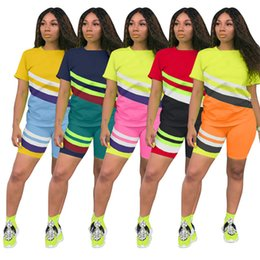 wholesale neck strips NZ - Women Summer Geometric Strip contrast color tracksuit Short Sleeve Suits 2 piece Set T-shirt+Shorts Jogging Suit Sportwear 3237