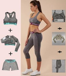 Wholesale martial arts short pants resale online – Womens Designer Grils Yoga Suit Sleeve Long Pants Shorts Bra Bust Sportwear Tracksuits Fitness Jumpsuit Sport Clothes Gymshark Print Letter