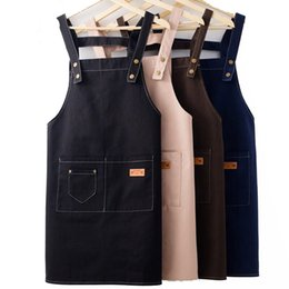 custom aprons Australia - Apron Kit Custom Logo Wholesale Kitchen Restaurant Cooking Baking Bib Milktea Shop With Pockets Sleeve Waterproof Cleaning Cloth