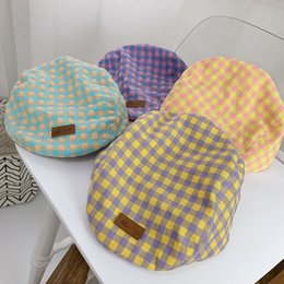 british cap UK - Baby Plaid British children's hat thin 1-2 years old cap sunshade beret beret new fashion hat
