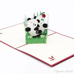 friendship greetings card Canada - Hot sale 3D Pop Up Card Panda Symbol Peace Friendship Childrens Day Happy Birthday Greeting Cards