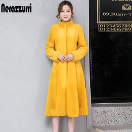 Wholesale fit and flare coat resale online – Nerazzurri fit and flare faux fur coat women long sleeve yellow grey fake rabbit fur overcoat winter plus size fluffy furry coat T200507