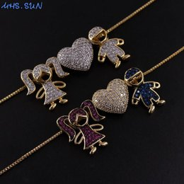 pendant couple boy girl UK - MHS.SUN New Fashion Boy and Girls Character Pendant Necklace With Zircon Women Jewelry Couples Gift For Valentine's Day 1PC