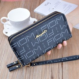 hand tie bags UK - Wholesale Black Key Wallet New Hand Wallet Lady Long Double Zipper Korean Fashion Letter Large Capacity Double Wallet