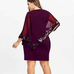 purple overlay dress Canada - Dresses In Large Sizes Women Plus Size Cold Shoulder Overlay Asymmetric Chiffon Strapless Sequins Dress jurken grote maten@30