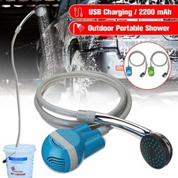 Discount 12v dc watering pump 12V Car Washer Portable Camping Shower Wireless Car Shower DC 12V Pump Pressure Outdoor Travel Caravan Van Pet Water Tan