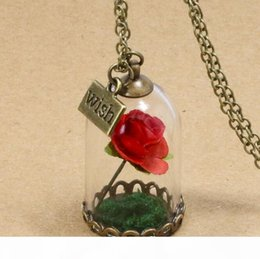 rhinestone glasses chain Australia - P Beauty And Beast Necklace Rose Glass Jar Necklace Little Prince Red Rose Wish Pendant Necklace Wfn320 (With Chain )Mix Order 20 Piece